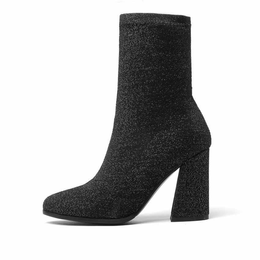 ESVEVA 2020 Kadın Botları Streç Kumaşlar Orta Buzağı Çizmeler Ilkbahar Sonbahar yüksek topuklu ayakkabı Sivri Burun Bayanlar Çorap Boyutu 34- 43