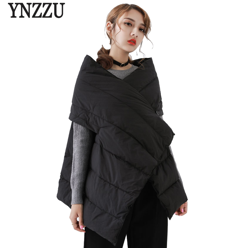 New Design 2018 Autumn Winter Women Down Vest Solid Chic Duck Down Shawl Jacket Coat Women
