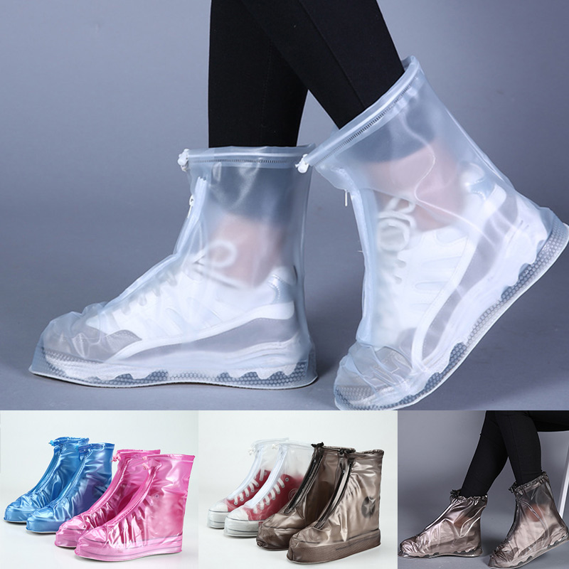 PVC material 1 Pair Rain Shoe Boots Cover PVC Waterproof Anti-slip Rainproof for Women Men Best Price image