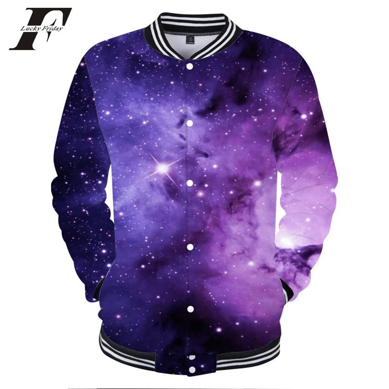 LUCKYFRIDAYF 3D Print Cool Star Sky Baseball Jackets Women men cotton Winter Jacket Hip  ...