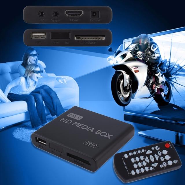 En la acción! Mini 1080 p HD Media Player Cuadro MPEG/MKV/H.264 HDMI AV Remoto USB + enchufe de LA UE lo nuevo