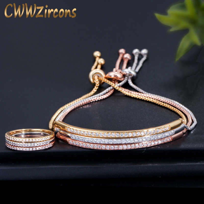 CWWZircons Simple Fashion Brand Ladies Jewelry Rose Gold Color Bar Cubic Zirconia Ring and Bracelet Sets for Women T332