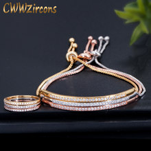 CWWZircons Simple Fashion Brand Ladies Jewelry Rose Gold Color Bar Cubic Zirconia Ring and Bracelet Sets for Women T332(China)