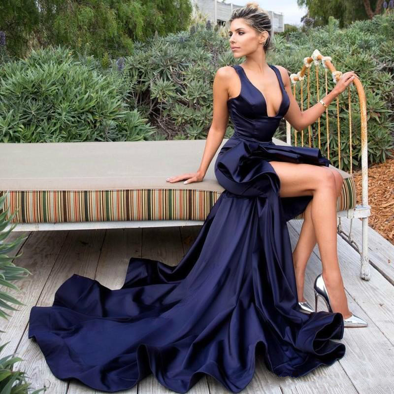 Sexy V-Neck Prom   Dresses   New Arrival Sleeveless Side Split Satin Sweep Trian African Party   Dresses   Custom Made   Evening     Dresses