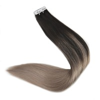 Full Shine Glue on Hair Color #1B/18 Ash Blonde Tape in Hair 20 Pieces Per Package Real Remy Human Hair Tape on Extensions