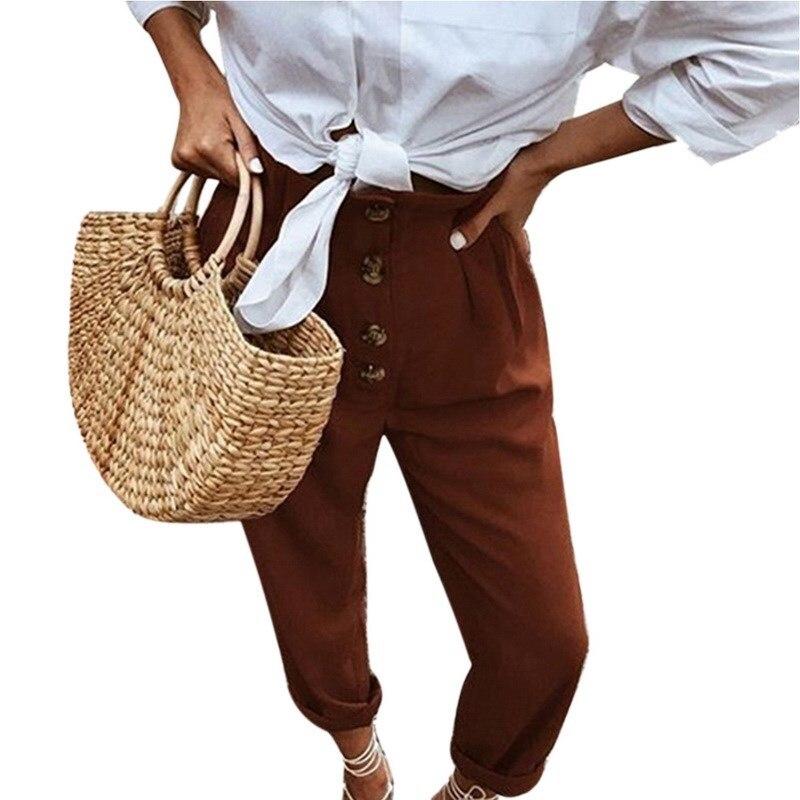2019 Women Vintage Cotton Linen Full   Pants   Casual High Waist Button Harem   Pants   Solid Loose Big Size Trousers