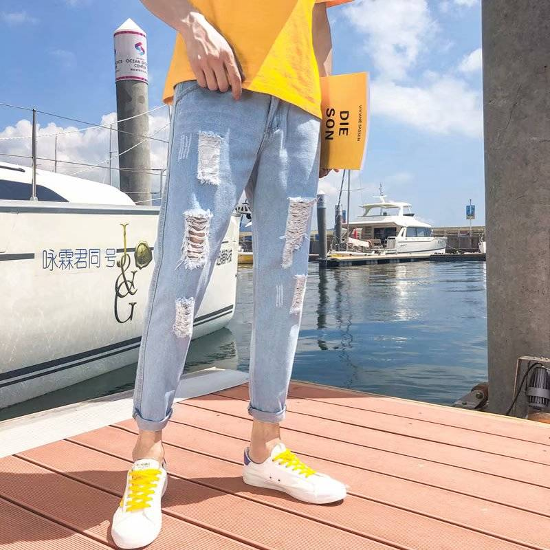 Nine Min Eight Min Seven-point Pants Ins Break Jeans Male Tide Korean Edition Trend Pants Summer 9 Minutes 8 Pants Summer