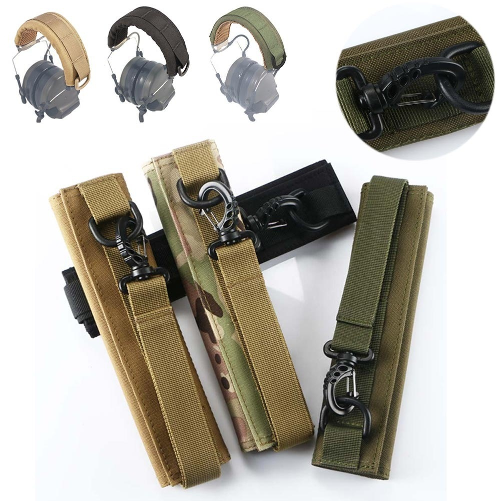 Molle Waterproof Earphone Cover Tactical Headband Modular Headset Earphone Cover W/Adhesive Strap For Earmuffs Accessories