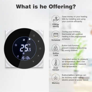 Digital Wifi Thermostat Room Thermostat Temperature Controller for Gas Water Boiler Heating Thermostat Support Alexa Google Home