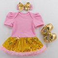 3PCs per Set Baby Girl Pink Romper with Attached Golden Bling Sequins Tutu Dress with Headband Shoes for 0-24months