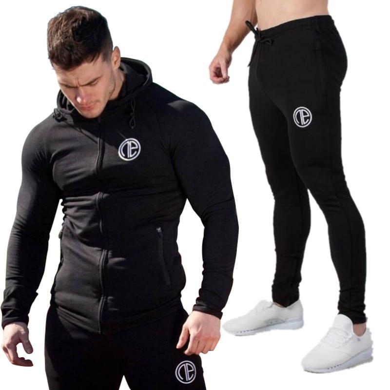 2018 homme Costume De Sport Sweat Survêtement Sans Capuche Hommes Casual Active Suit Zipper Outwear 2 pc Veste + Pantalon ensembles