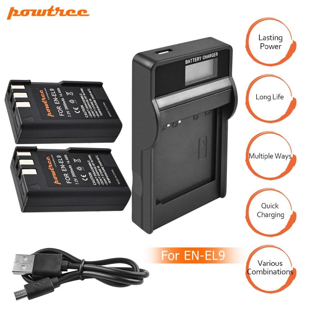 2 упаковки EN-EL9 аккумуляторов для камеры EN EL9 ENEL9 ENEL9a EN EL9a + ЖК-Зарядное устройство USB для Nikon EN-EL9a D40 D60 D40X D5000 D3000 L15