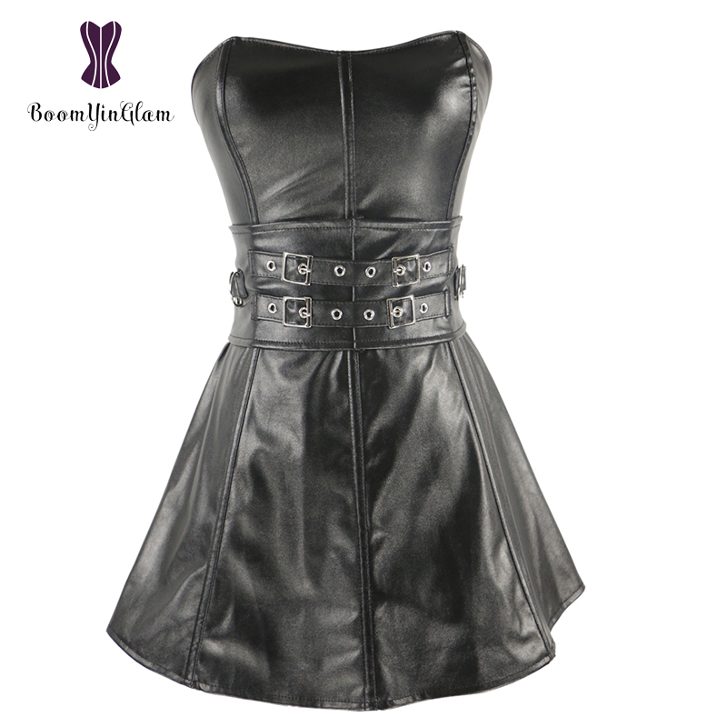 High quality body shaperwear faux leather overbust corselet women   bustier   culbwear dress zip back   corset   with waist belts 9003#