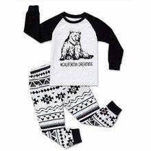 BINIDUCKLING/ г. Детская одежда для мальчиков домашний пижамный комплект, весна-осень, футболка с рисунком медведя+ штаны комплекты детской одежды из 2 предметов