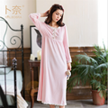 GRLBOBRA Autumn New Flannel Pure Cotton Female Nightgown Simple Small Lace Long - Sleeve Nightdress Women Cozy Sleepwear S0024