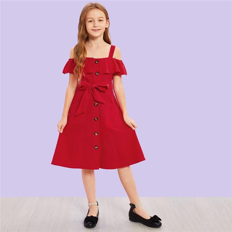 tienda de liquidación 0368e d8ffd Vestido rojo botones cinturón off-shoulder