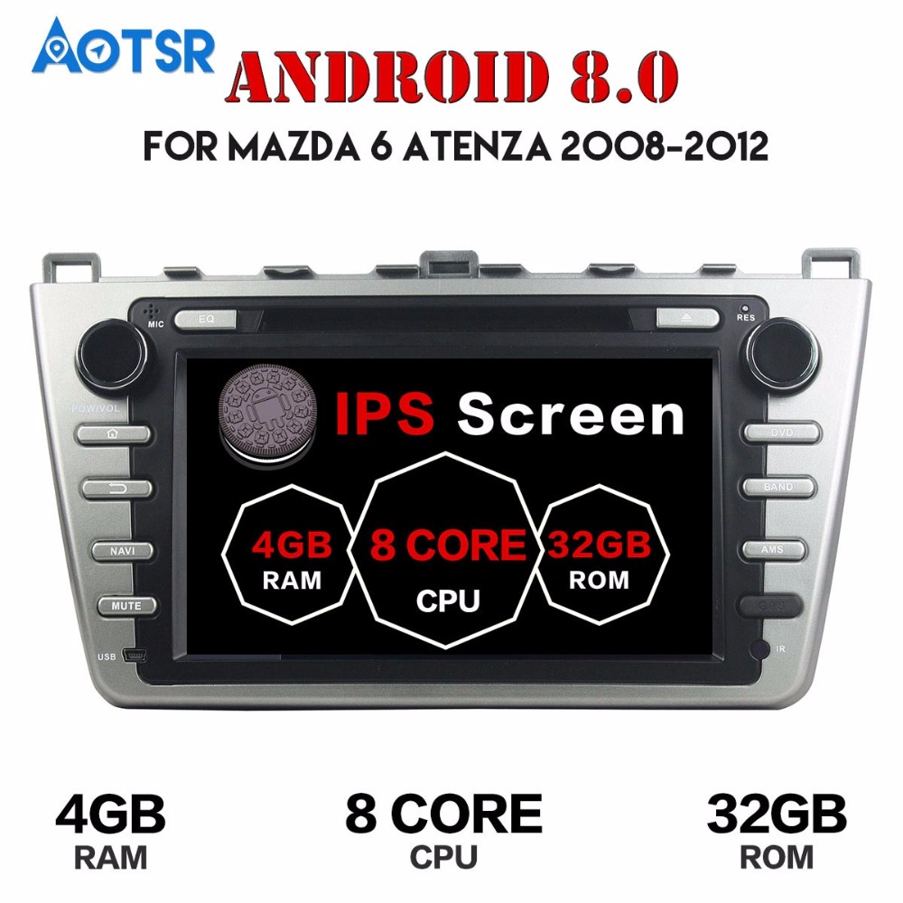 <font><b>Android</b></font> 8.0 Car DVD Player GPS Navigation Radio Stereo For <font><b>Mazda</b></font> <font><b>6</b></font> <font><b>Atenza</b></font> 2008-2012 HD Satnav multimedia CD radio tape radio IPS image