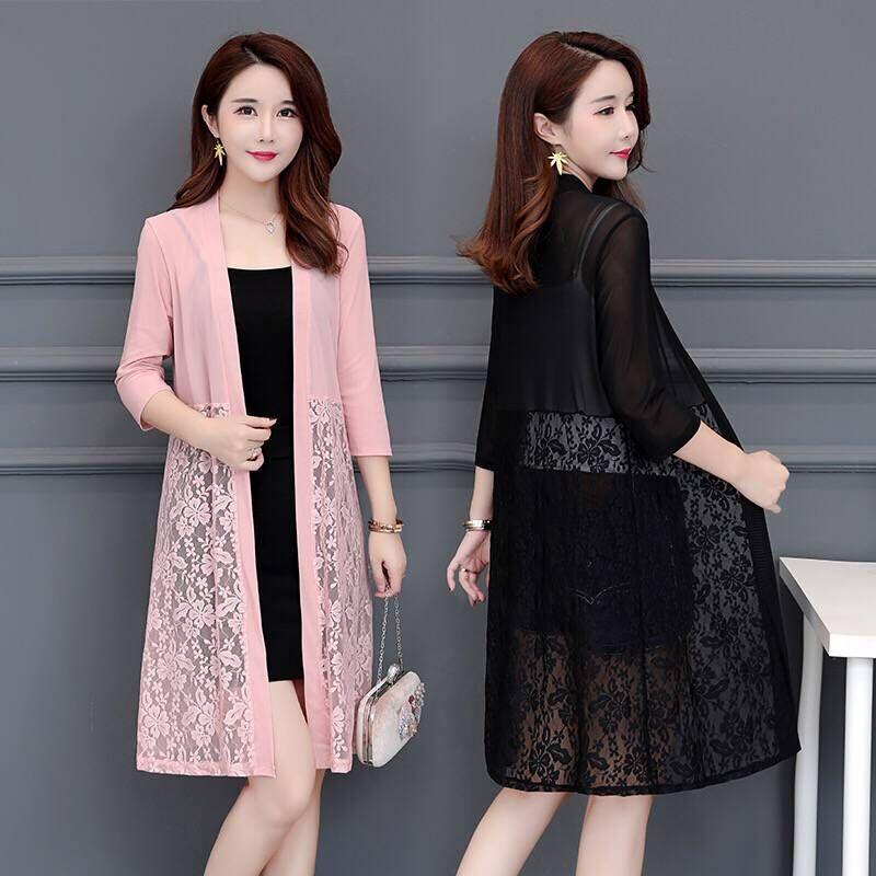 5XL Plus Size Summer Lace Cardigan Women Long Net Yarn Sunscreen Jacket Casual Pink Black Red White Thin Long Sleeve Women Coat