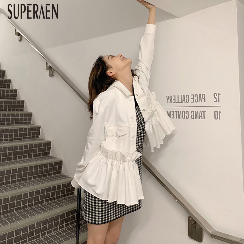 SuperAen veste en jean pour femme couleur unie mode décontracté dames veste 2019 printemps nouveau sauvage à manches longues Europe haut pour femme