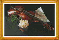 The violin and the white rose cross stitch kit 14ct white 11ct print on canvas embroidery set sewing hand made crafts home decor