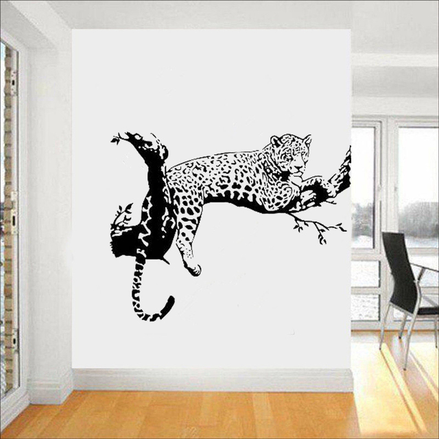 Leopard On The Tree Wall Sticker Big Cat Wall Decals For Living Room Home  Decorations Wall