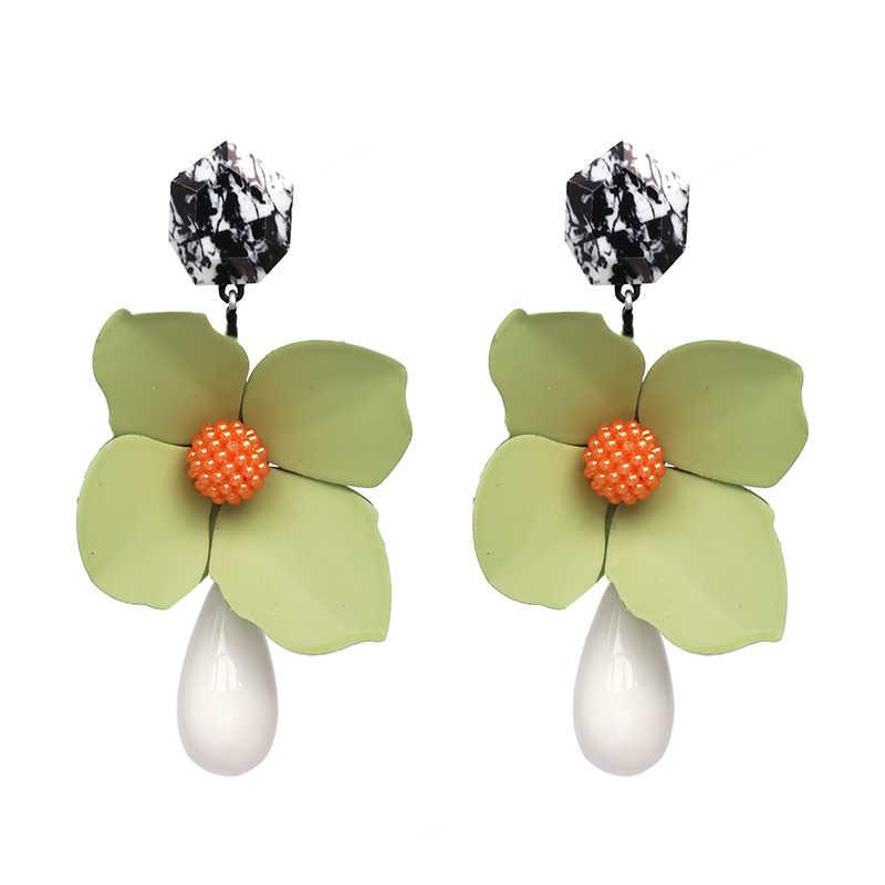 JUJIA lớn bán ZA thiết kế kim loại hoa bông tai tuyên bố thời trang nữ tua Bông Tai cho phụ nữ giọt bông tai hoa