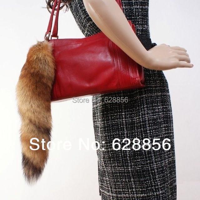 Envío Gratis Nueva Moda Real Red Tail Fox Fur Llavero Llavero