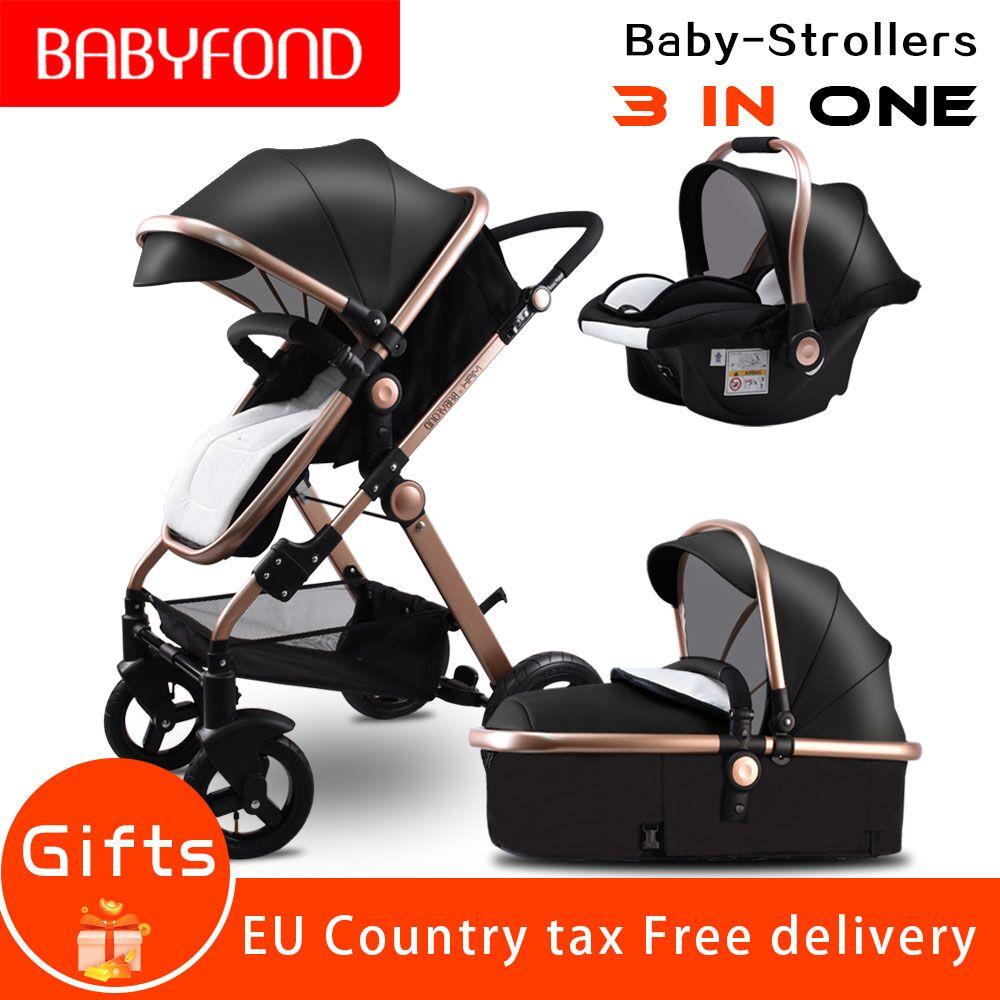 США Бесплатная доставка! 3 в 1 детские коляски и спальные корзины коляска для новорожденного Европа детская коляска одна посылка с Автокресл