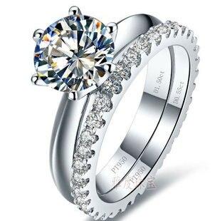 Couleur or blanc 0.6-3 carats sona simulé des ensembles de bague de mariage de gemme pour les femmes, 925 ensembles de couleur de bague en argent, ensemble de bague de promesse