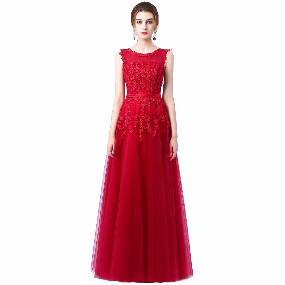 Robe De soirée 2018 nouvelle dentelle rose douce longue Robe De soirée mariée Scoop sans manches Transparent Banquet Sexy Robe De bal - 4
