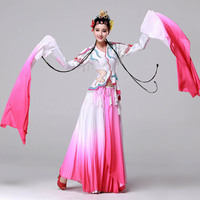 Embroidery water sleeves Chinese Drama clothing woman classical dance wear opera Pink Butterfly costume Flowers blooming actress
