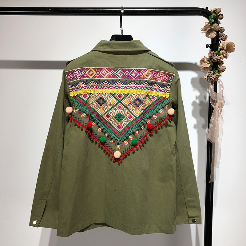 88a6d9f8975 BOHO INSPIRED Army Green Cotton Ethnic Floral Embroidered Denim Jacket  buttons pom poms chic bohemian shirts jacket women 2018-in Basic Jackets  from Women s ...