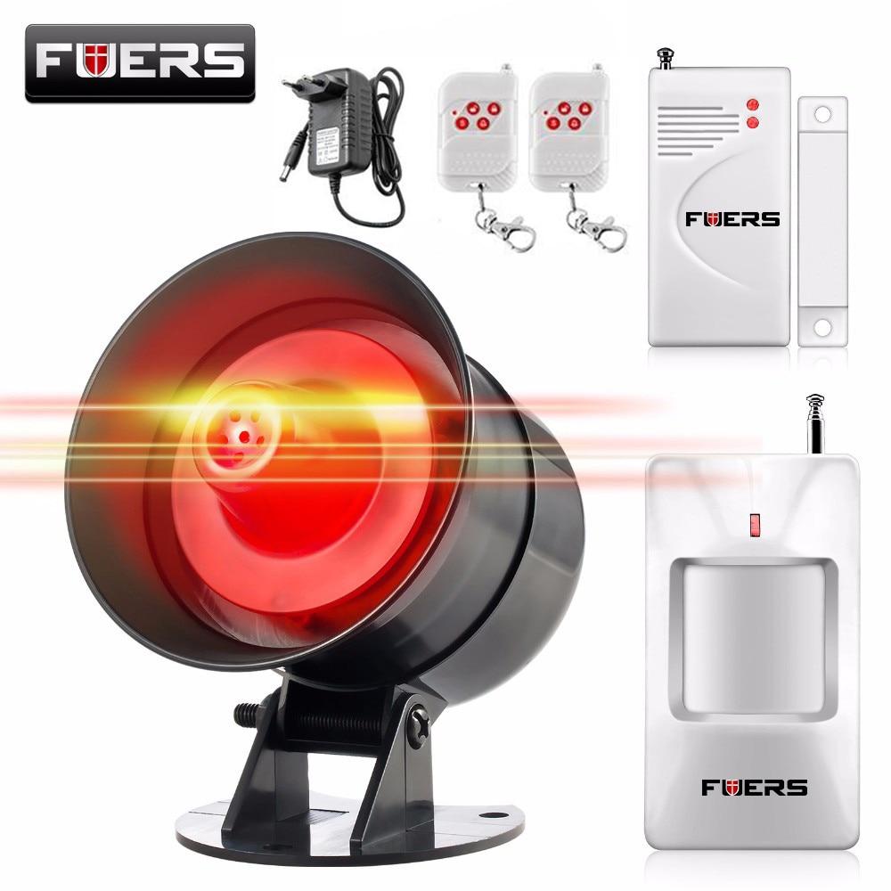 Fuers DIY inalámbrico 110db ruidoso sirena de seguridad rápida código estroboscópico sirena de alarma sonido Flash sistema de alarma de ladrón del hogar seguridad