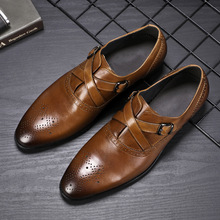 QYFCIOUFU Men Single Monk Strap Shoes Round Toe Brogue Shoes With Buckle Straps Genuine Leather Shoes Black Brown Wedding Shoe