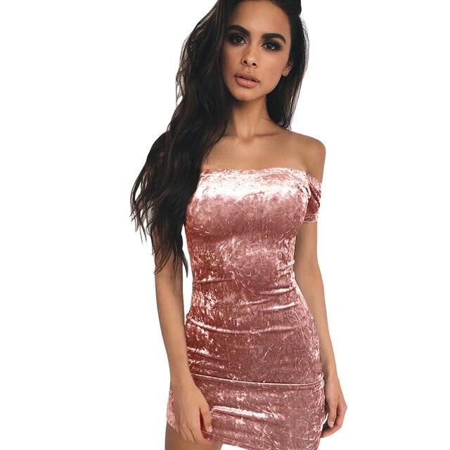 2019 Summer Women Bodycon Velvet Mini Dress Off Shoulder Short Sleeve Tube Dress  Solid Nightclub Party d17cc2214078