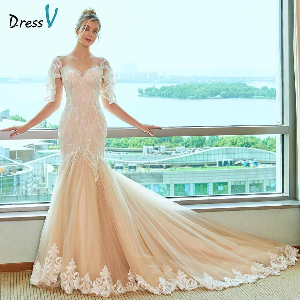 Dressv Sweetheart Neck Wedding Dress Mermaid Appliques Lace Cap Sleeves Floor Length Bridal Outdoor&church Wedding Dresses