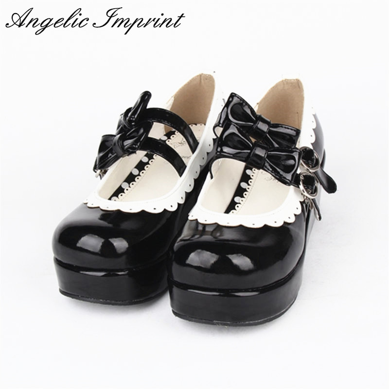 Japanese Sweet Lolita Cosplay Shoes Double Bowtie Buckle Straps Lace Trim Princess Platform Shoes юбка blue shells cosplay pettiskirt tutu lolita