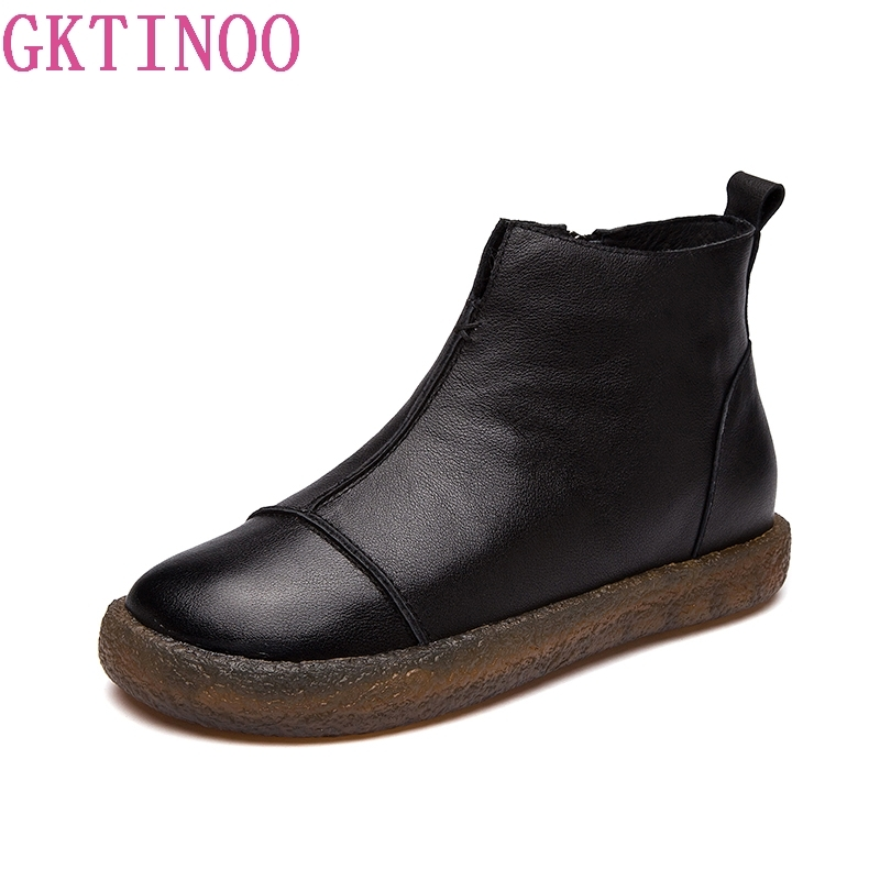все цены на GKTINOO Fashion Handmade Shoes For Women 100% Genuine Leather Ankle Boots Winter Autumn Flat Women Shoes Round Toes Martin Boots онлайн