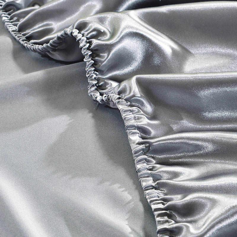 Однотонное атласное роскошное постельное белье с эластичной лентой мягкий домашний текстиль наматрасник покрывало постельное белье
