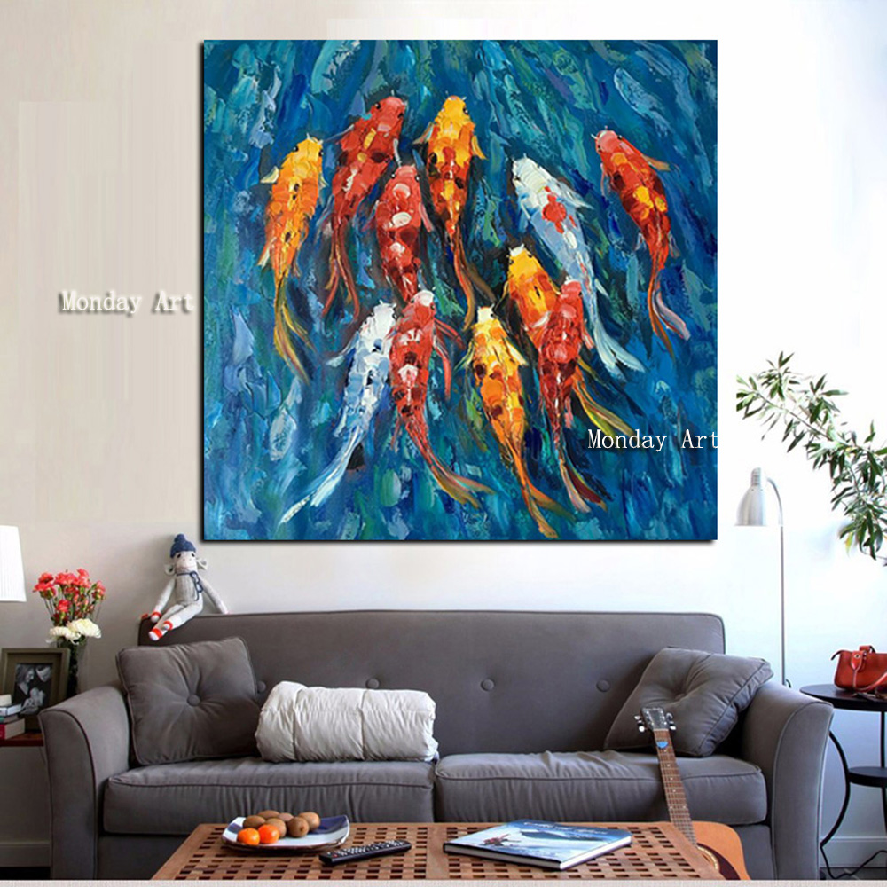 Wall-Art-Picture-Traditional-Chinese-Abstract-Landscape-Oil-Painting-Print-Nine-Koi-Fish-on-Canvas-Poster