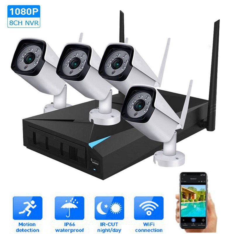 HD 1080P 4CH WiFi Wireless NVR Kits Video Surveillance System Indoor/Outdoor IP Cameras Motion Detection IP66 Waterproof CCTV