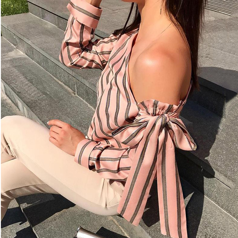 Striped Blouse One Shoulder Tops Sexy Long Sleeve Bow Shirts 6