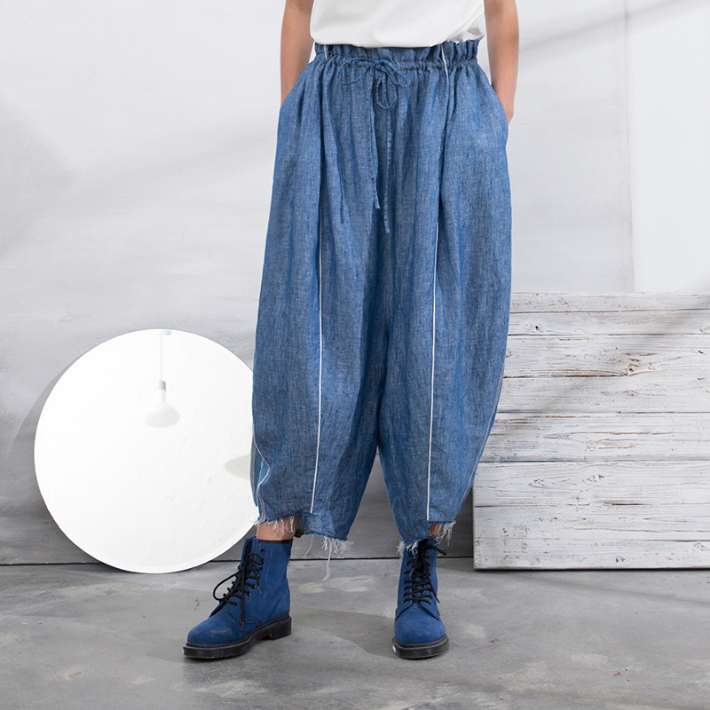Femmes Rayé Lâche Bleu Taille Arrivée Vintage 2018 Casual Recadrée Réglable D'été Pantalon Côté Nouvelle Denim Linge 46w0qSw