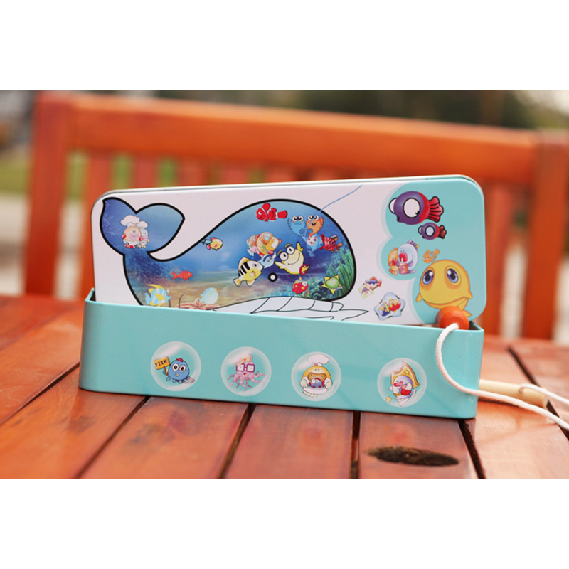 14 Fishes + 2 Fishing Rods Wooden Children Toys Fish Magnetic Play Fishing Game Tin Box Kids Educational Toy Boy girl XWJ295-