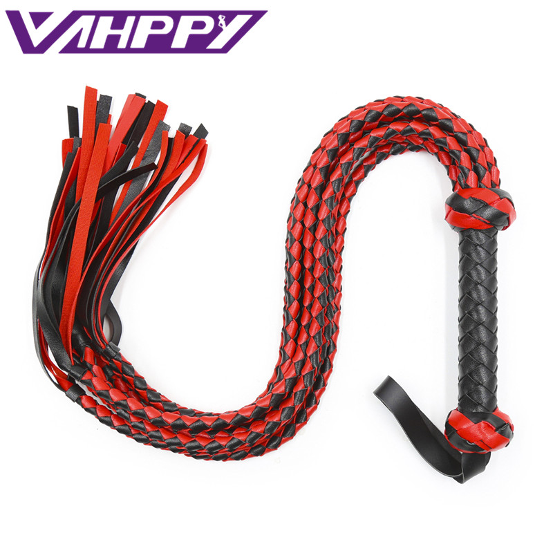 78cm Leather Bdsm Bondage Restraints Adult Games Sex Toys For Couples Whip Sex SM erotic Hand Made Braided Riding Whips Harness