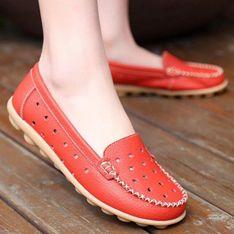 2017 de Perforación Transpirable Verano Mocasines de Cuero Genuino Zapatos Plano