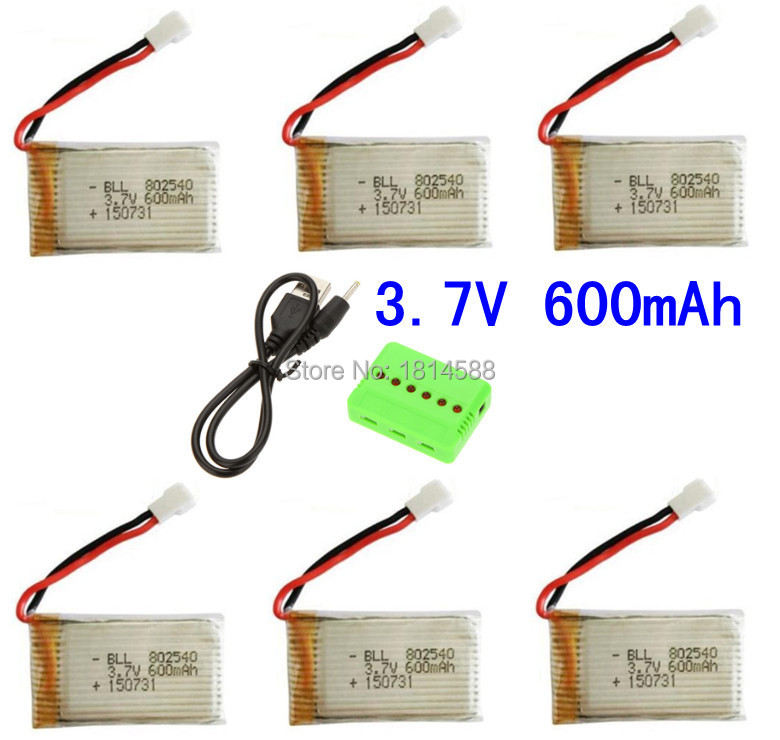 6 in 1 Syma X5 X5C X5C-1 X5A X5 X5SC X5SW H5C V931 Lipo Battery Charger + 6Pcs 3.7V 600mAh 20C Battery Free shipping syma x5 x5c x5c 1 explorers new version without camera transmitter bnf
