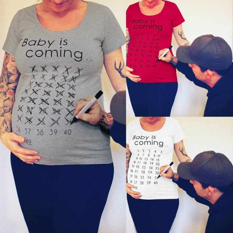 fd1b97093b25a ... MUQGEW Baby Is Coming Print Women Maternity Clothing Pregnant Short T  shirt Funny Top for photography
