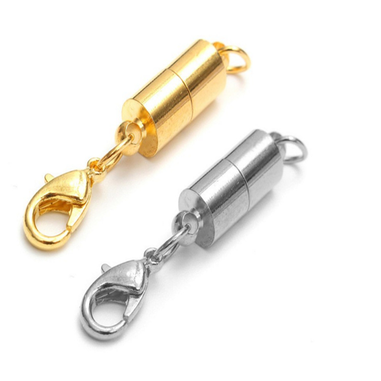 2 pcs/lot 6*40mm DIY Necklace/ Bracelet Connectors Cylindrical Magnetic Buckle Jewelry Components Gold Silver Jewelry Findings