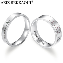 Wedding-Band Couple-Rings Engrave Laser-Engraved-Heartbeat Name Stainless-Steel AZIZ